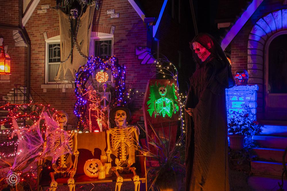 Skeleton decorations for Halloween.
