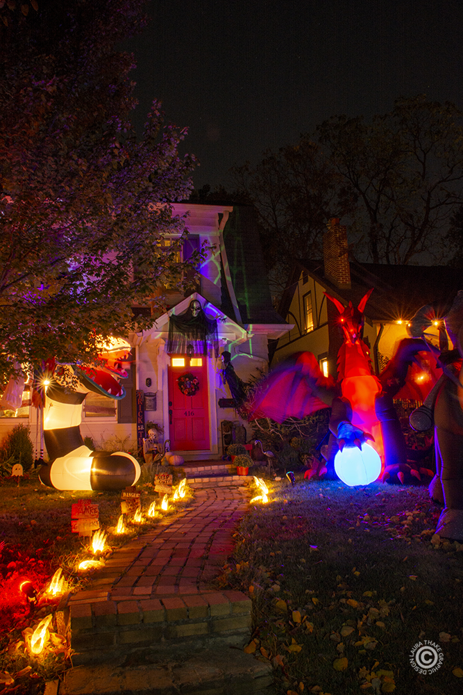 Scary Halloween decorations in St. Louis MO.