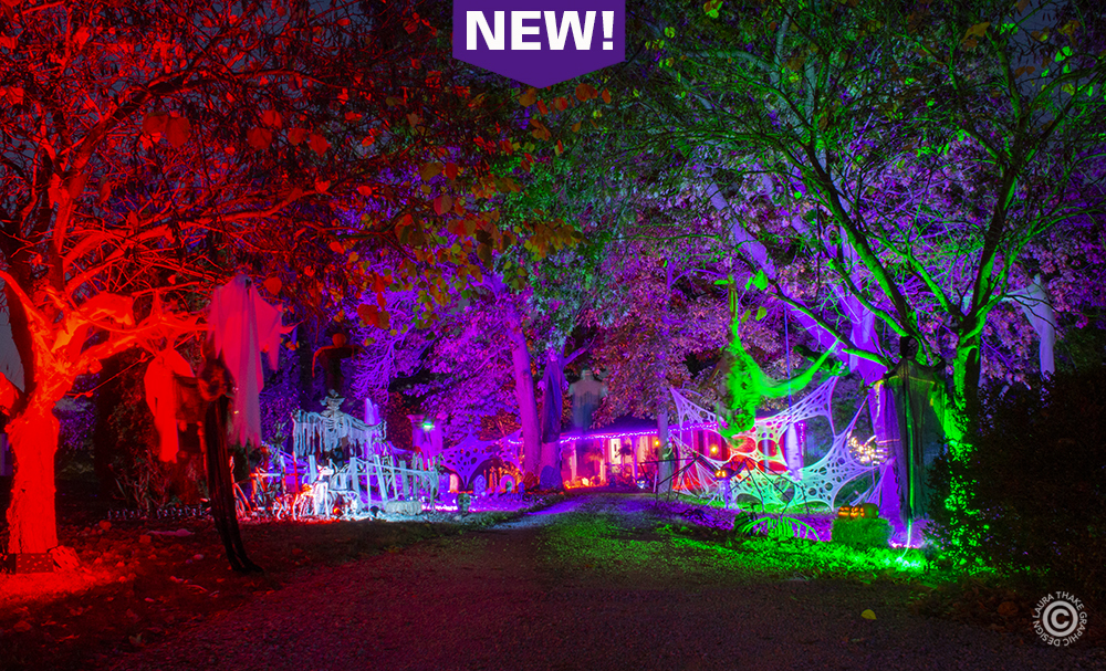 Halloween decoration on a one acre lot in Ballwin Missouri.