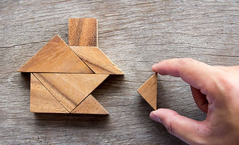 Wooden tangram puzzle wait to fulfill ho