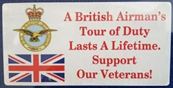 Tour Of Duty Royal Air Force. Car Window Sticker