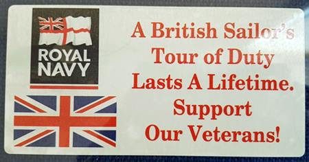 Tour Of Duty Royal Navy. Car Window Sticker