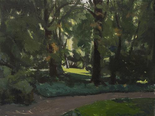 En el jardín, árboles