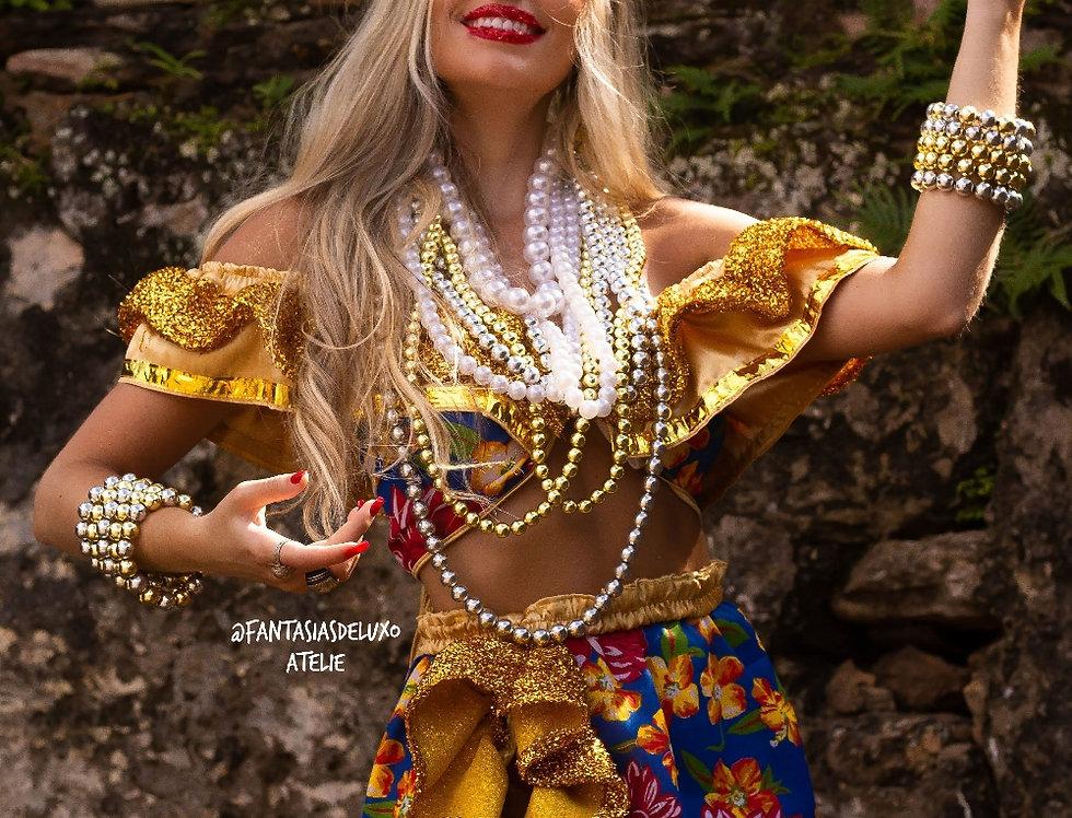 Fantasia LUXO Carmen Miranda dourada (saia curta) COMPLETA