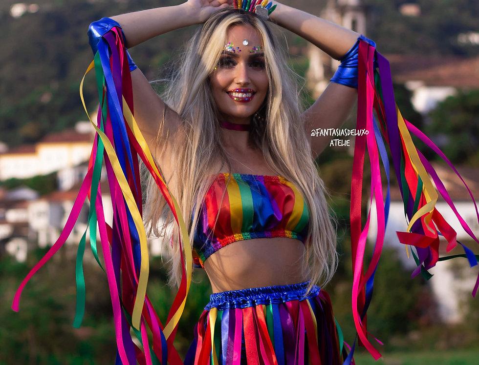 Fantasia Arco Íris de Carnaval COMPLETA