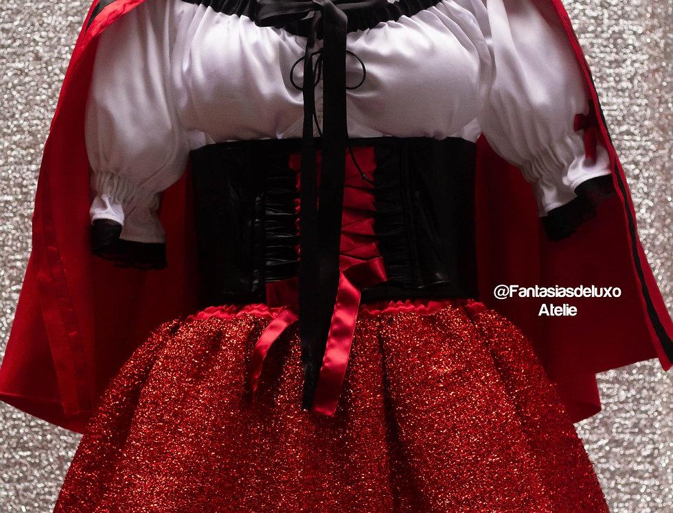 Fantasia Chapeuzinho Vermelho (capa cetim curta)