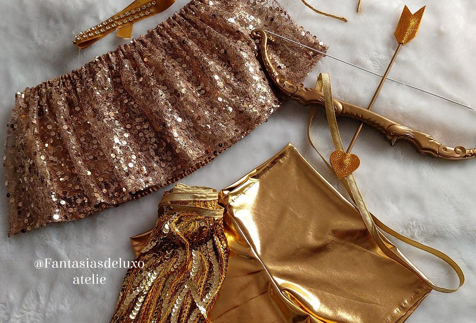 Fantasia Cupido Luxo Dourada COMPLETA
