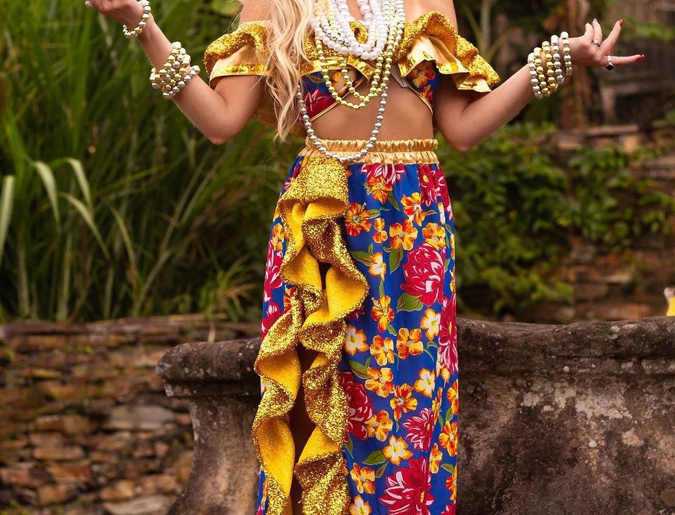 Fantasia luxo carmen miranda dourada ( s/tiara)