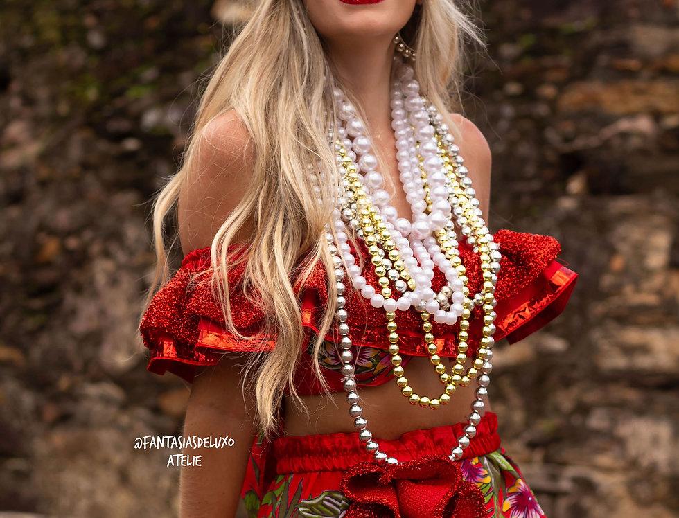 Fantasia Carmen Miranda LUXO vermelha (s/tiara)