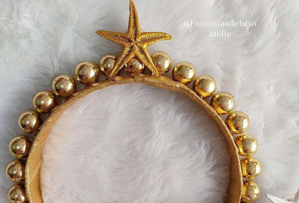 Tiara pérolas Mermaid Dourada