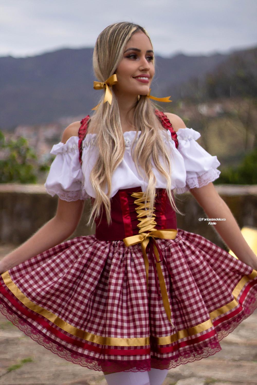 vestido junino - vestido caipira - vestido de quadrilha - traje oktoberfest