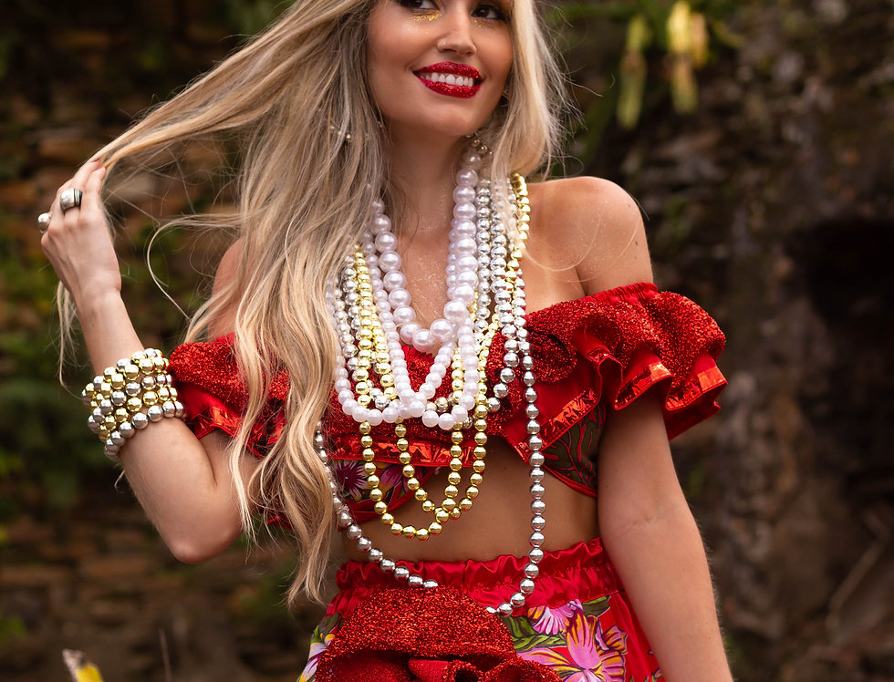 Fantasia Carmen Miranda LUXO (saia longa) COMPLETA