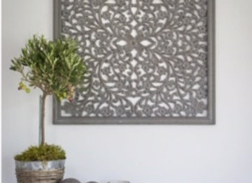 Large grey hand carved wooden wall panel
