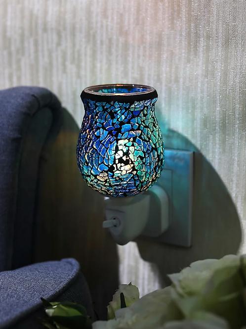 Cobalt Blue Crackle Tulip Mosaic Wax Warmer