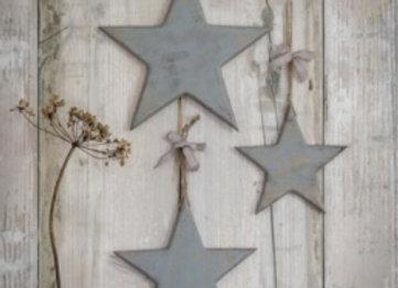 Set of three grey wooden hanging stars