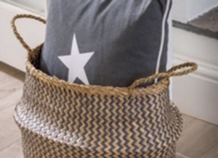 White & grey natural seagrass hand woven basket