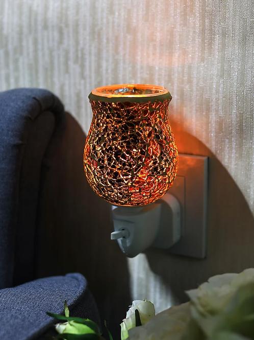 Burnt Orange Crackle Tulip Mosaic Wax Warmer