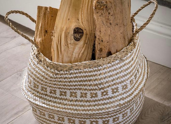 White & natural seagrass hand woven basket