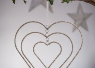 3 layer beaded heart decoration with clear, white & silver beads.