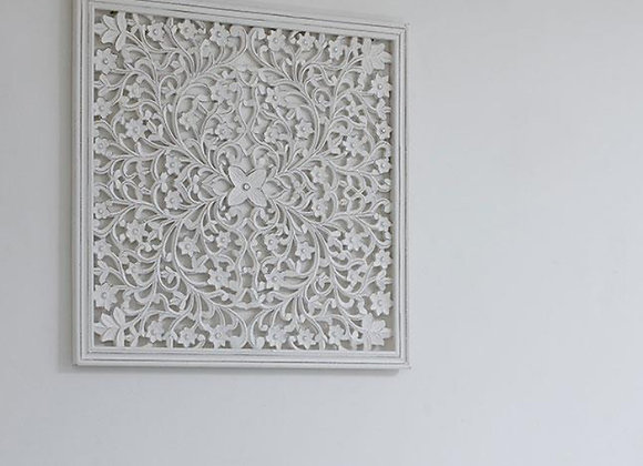 Large white hand carved wooden wall panel