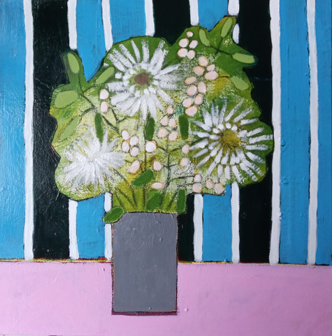 White flowers with a striped background  40cm x 40cm