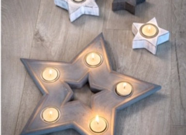 Grey hand finished star shaped multi tealight holder