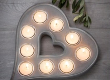 Grey wooden heart tealight holder