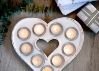 White wooden heart tealight holder