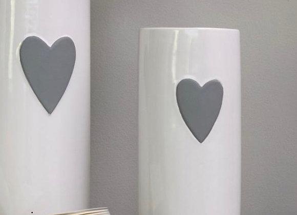 White ceramic vase with small grey heart - 20cm x 8.5cm