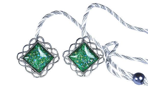 Silver - Cabochon, Green, Square