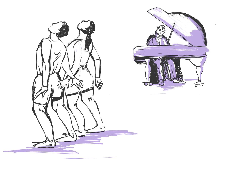 dancers illustration with spot color