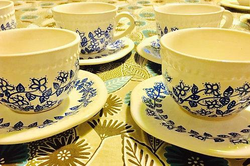 tazas flores con plato