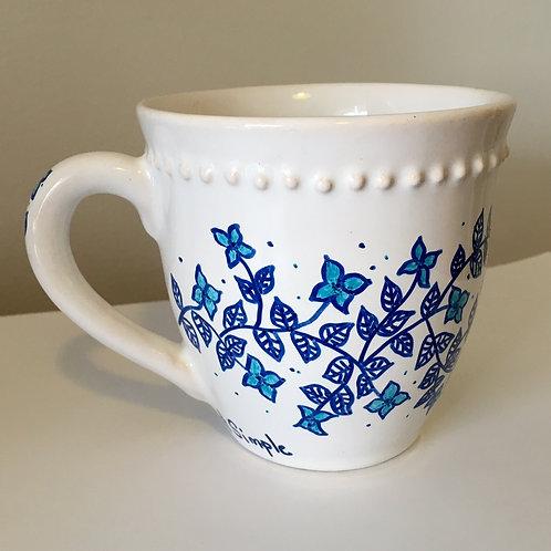 tazas flores azules