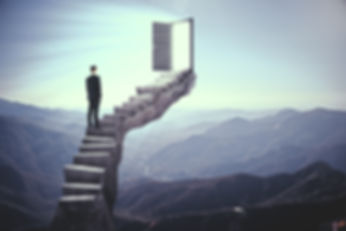 Businessman standing on stairs with abst