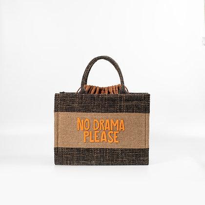 """Двухцветная сумка с оранжевыми буквами """"No Drama Please"""""""
