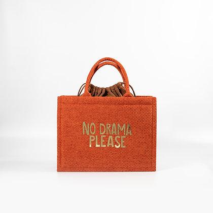 """Ярко оранжевая сумка с золотыми зеркальными буквами """"No Drama Please"""""""