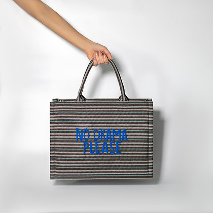 """Серая сумка """"мультиколор"""" в полоску с синими буквами """"No Drama Please"""""""