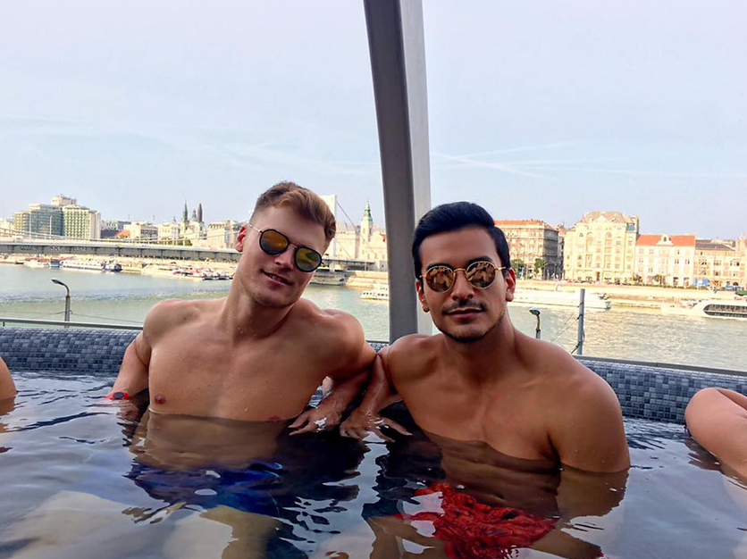 David Calderon and friend in Budapest, Europe