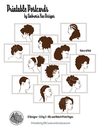 Natural Hair Printable Postcards