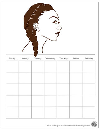 Long Twist Natural Hair Monthly Printable Calendar