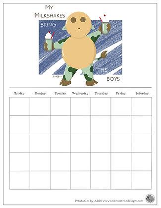 'My Milkshakes' Blue Monthly Printable Calendar