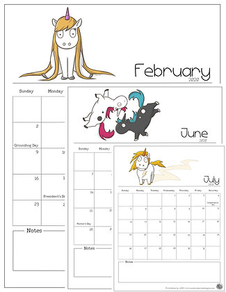 2020 Unicorn Calendar Vertical