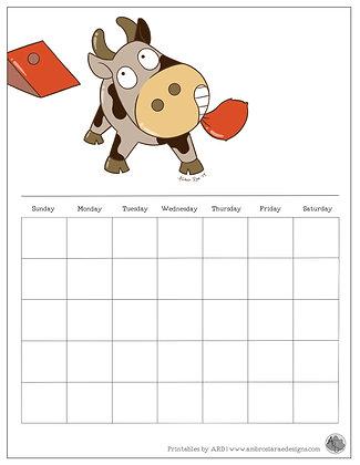 Cow Cornhole Monthly Printable Calendar