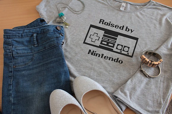 Women's Tops 'Raised By Nintendo' Geek Boxy Crop Tee