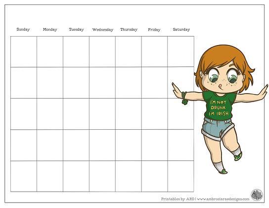 I'm Irish Chibi Art St. Patrick's Monthly Printable Calendar