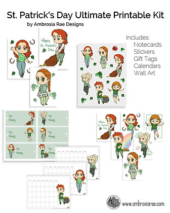 St. Patrick's Day Chibi Art Ultimate Printable Kit