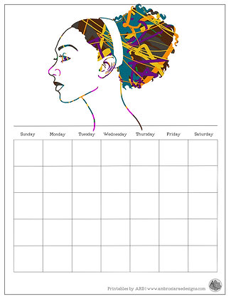 Pulled Back Natural Hair Abstract Monthly Printable Calendar