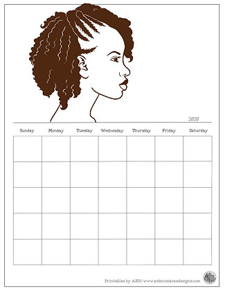 Braid Out Natural Hair Monthly Printable Calendar