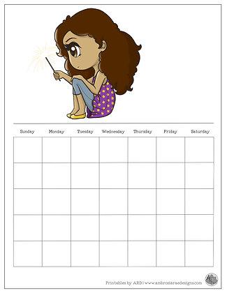 Sparklers Monthly Printable Calendar