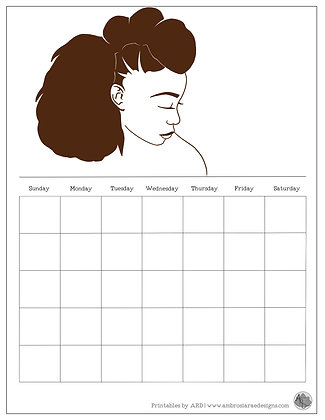 Blow Out Natural Hair Monthly Printable Calendar